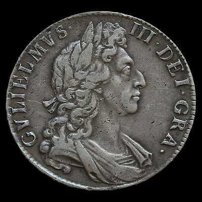 1697 William III Early Milled Silver Half Crown – VF