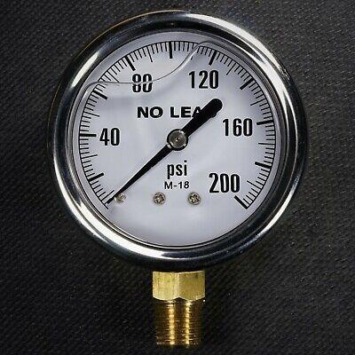 New Stainless Steel Liquid Filled Pressure Gauge 0-200 Psi 2.5 Face 14 Npt