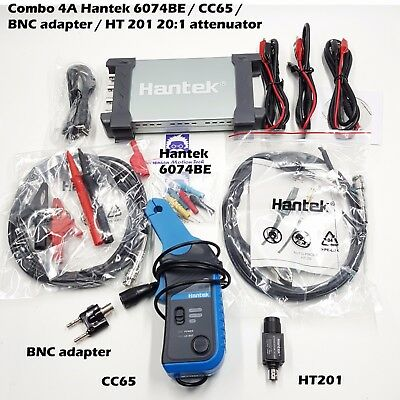 Combo 4a Hantek 6254be Auto Scope 1ga 4chs Cc65 Current Clamp Ht201 Bnc Adapter