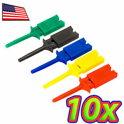 10x Test Clip Mini Grabber Smd Ic Hook Probe Jumper 5 Colors