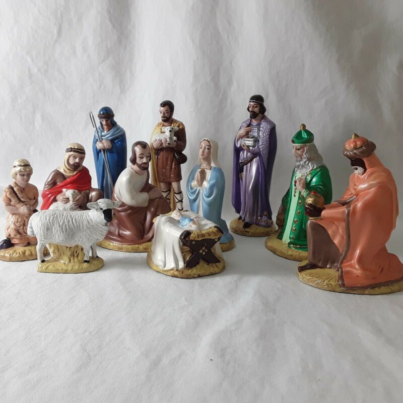 Vintage Ceramic Hand painted Nativity Figurines