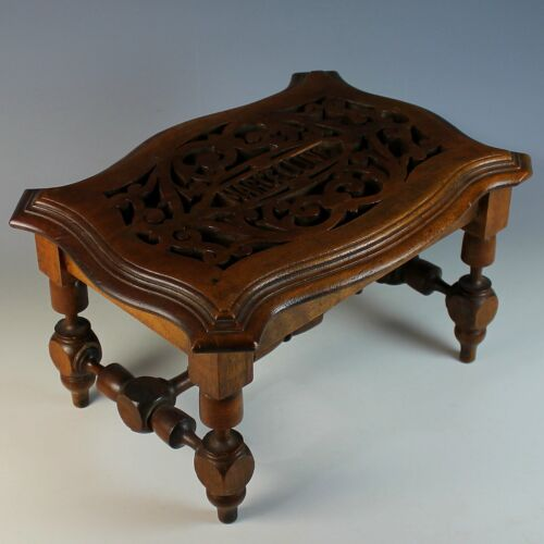 Antique Hand Carved Wood Bench. Foot Stool, Very Unique