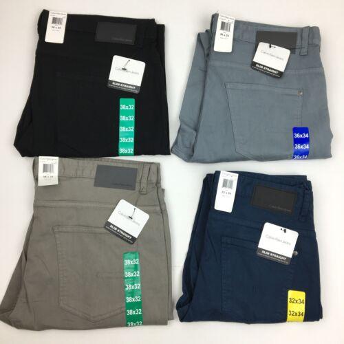 NEW Men's Calvin Klein Slim Straight Leg Jeans Black Blue Gr