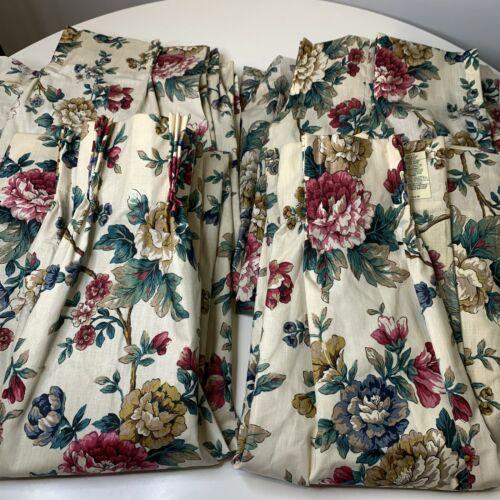 vintage curtain set 4 panels cream pink tan floral print pleated hooks