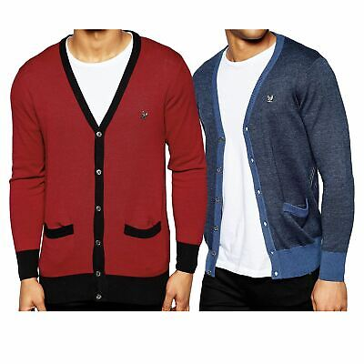 Mens Cardigan By Ringspun Long Sleeve V Neck Jumper Warm Winter Sweater Top