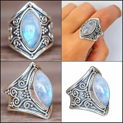 Antique Boho 925 Silver Natural Moonstone Women Jewelry  Wedding Ring Size 6-10