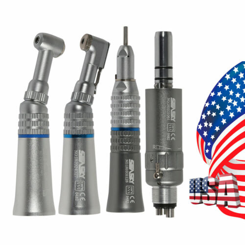 Dental Slow Low Speed Push/Latch Contra Angle Straight Air Motor Handpiece 4H WY