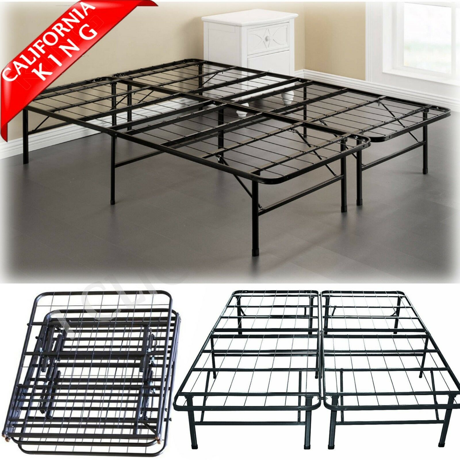 CALIFORNIA KING Size Metal Platform Bed Frame Heavy Mattress