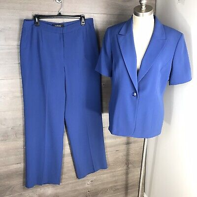Kasper Women's Size 12 Pant Suit 2 Piece Blue Short Sleeve One Button Lined