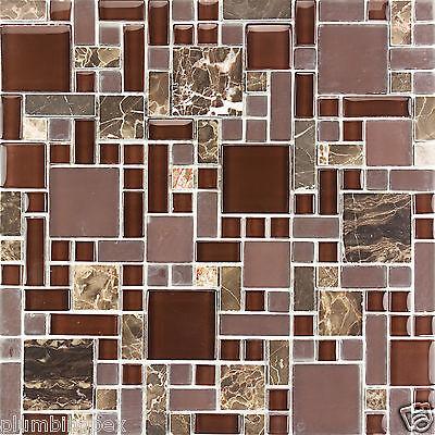 Polished Dark Emperador, Polished & Frosted Glass Mosaic Backsplash-1 Tile