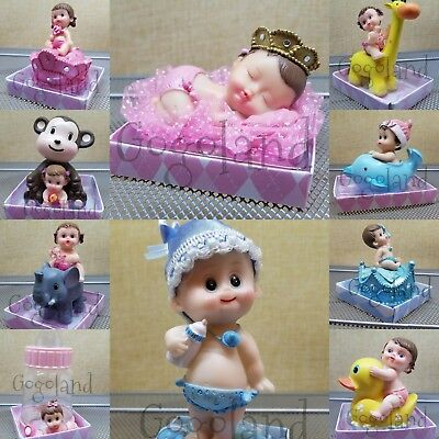 Boy Girl Shower (1 Baby Shower Boy Girl Cake Topper Decoration Animals Figurines Party)