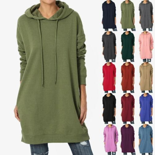 TheMogan S~3X Basic Loose Fit Pocket Pullover Hoodie Long Tunic Sweatshirts