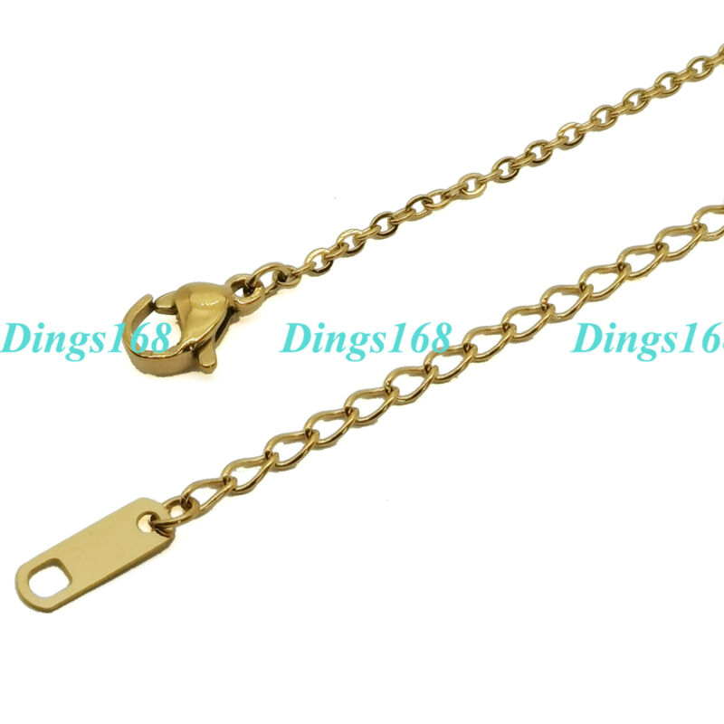 Solid 18K Yellow Gold Filled Tarnish-Free 1.5 mm wide Cable Chain Necklace E076Y