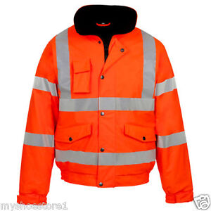 HI VIZ VIS VISIBILITY SECURITY WORK CONTRACTOR BOMBER WATERPROOF PADDED JACKET