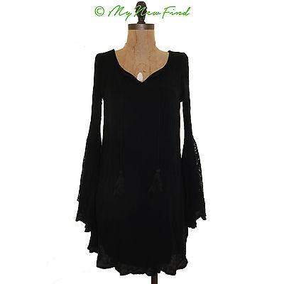 Love Fire Juniors Mini Dress Sz S Tassel Cut Out Lace Bell Sleeve Black EUC B41