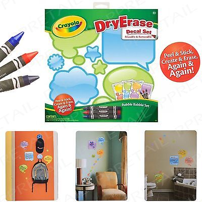 CRAYOLA Dry Wipe SPEECH BUBBLE Wall Sticker Set REMOVABLE Kids Washable Message