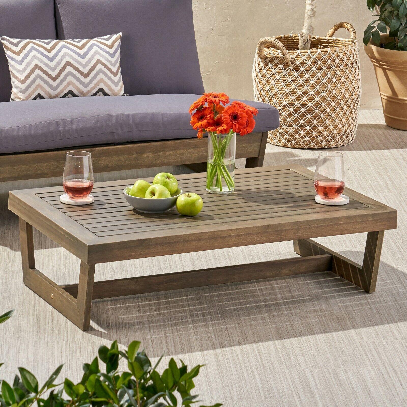Hannah Outdoor Acacia Wood Coffee Table Home & Garden