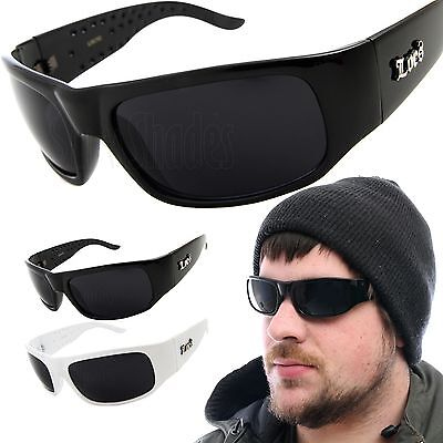 Mens LOCS Sunglasses Sports Gangster Glasses Thug Biker Dark Black (Bikers Glasses)