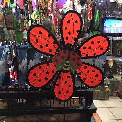 Red Flower w/Ladybug Wind Spinner ](Flower Wind Spinner)