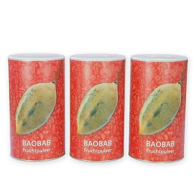 Reines Bio Baobab Fruchtpulver Baobab Pulver ohne Zusätze Rohkost  3 x 350g Dose