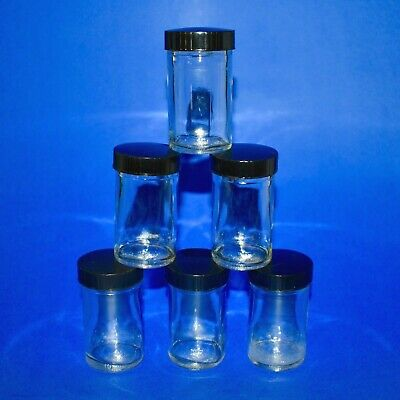 Vintage 2 Oz Glass Specimen Sample Jar 3 Tall Black Phenolic Screw-on Lid Lab