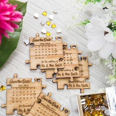 Save The Date Personalised Novelty Card Invitations Wooden Magnet Oak Keepsake