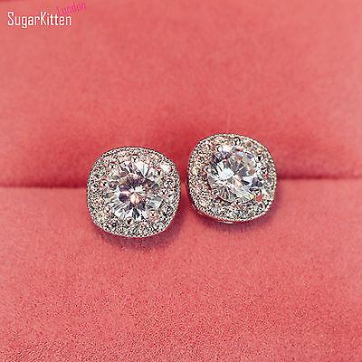 Solid 925 Sterling Silver 5mm CZ Square Halo Stud Earrings Jewellery Women Lady