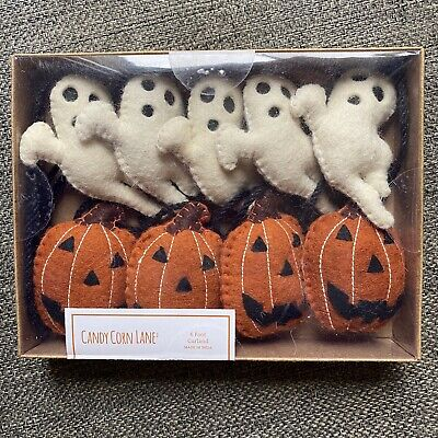 Halloween Garland Pumpkin Jack O Lantern Ghost 6 Ft Felt Stitch Candy Corn Lane