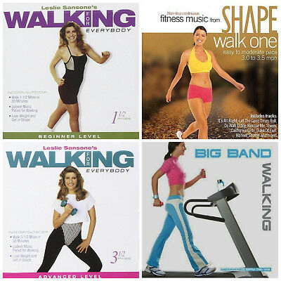 4 used WALKING EXERCISE CDs LOT workout music ~ big band,60s hits,Leslie Sansone