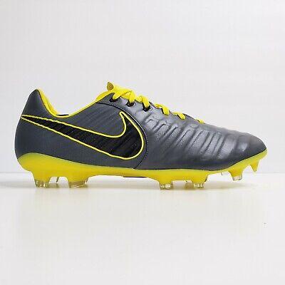 Nike Tiempo Legend 7 Pro FG Soccer Cleats Grey Yellow AH7241-070 Men's Size 11