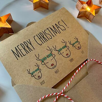 Personalised Family Christmas Cards, Reindeer Wreath, Vintage Rustic Chic Kraft ()