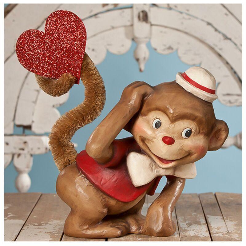 """16"""" Lrg Bethany Lowe Glitter Monkey Love Retro Vntg Style Valentines Day Decor"""