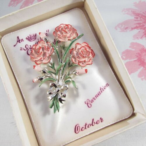 Vintage Mid-Century Boxed Exquisite Birthday Series October Carnation Brooch Pin