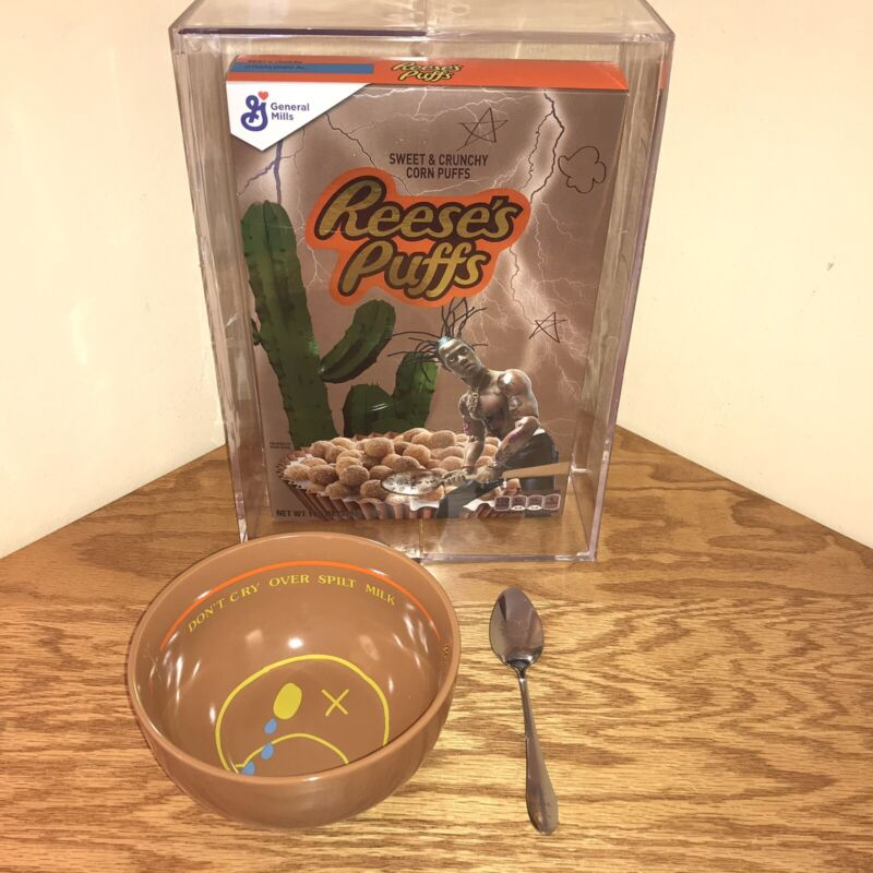 TRAVIS SCOTT REESES PUFFS LIMITED EDITION CEREAL ACRYLIC BOX +BOWL +SILVER SOON