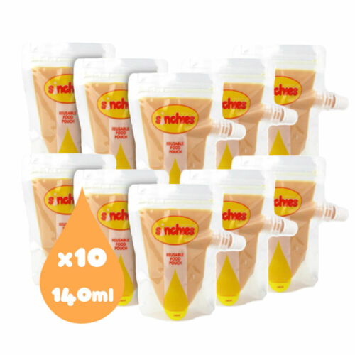 Sinchies 140ml Reusable Food Pouches BPA Free - Pack of 10