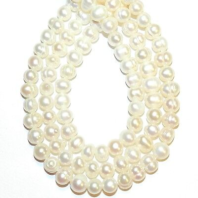 """NP489 White 5mm - 7mm Semi- Round Potato Cultured Freshwater Pearl Beads 14"""""""