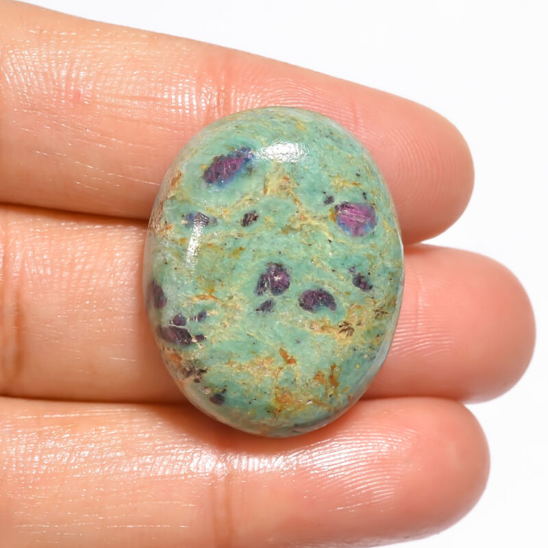 Natural Ruby Fuchsite Oval Cabochon Loose Gemstone 40.5 Ct. 27X21X8 mm EE-19045