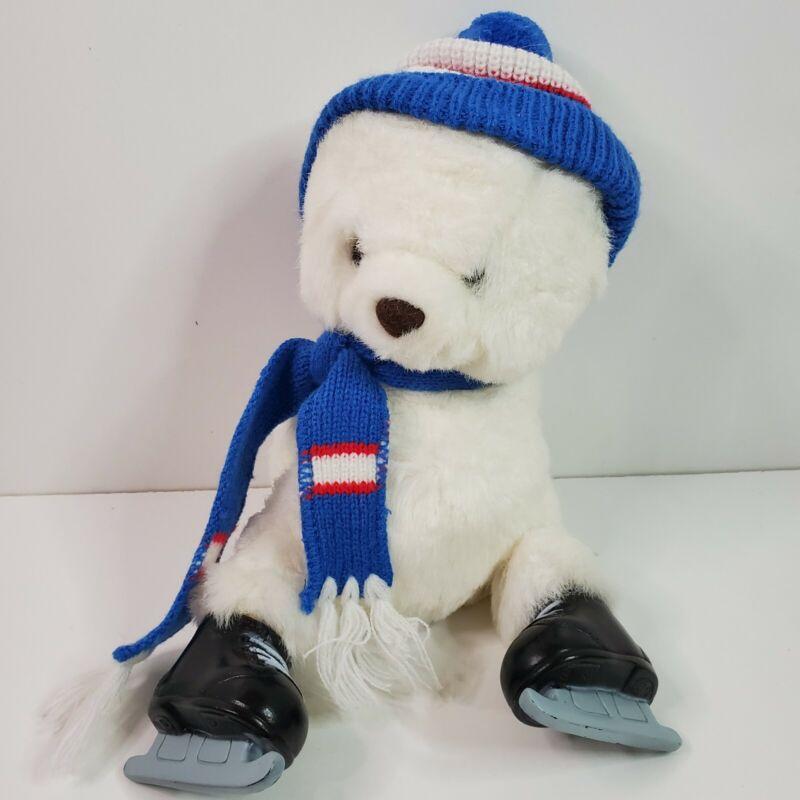 "Vintage 1988 HTF Prestige White Ice Skating Bear Arms Behind Baby Plush 10"""