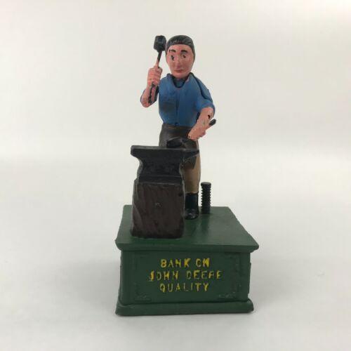 Vintage Cast Iron Mechanical Bank  John Deere Quality Anvil Forge Blacksmith