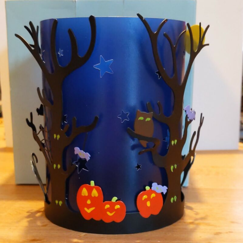 NIB PartyLite SPOOKY TIME Tealight/Pillar Holder P9777 Halloween Decor, 2-Pc