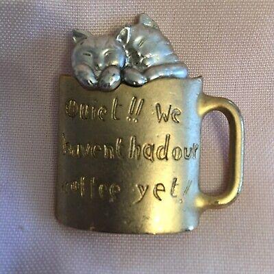 Cats in coffee mug costume jewelry pin