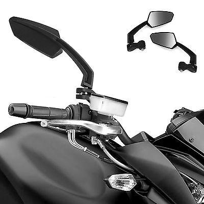 Black Universal Motorcycle Motorbike Bike Rear View Rearview Wing Side Mirror