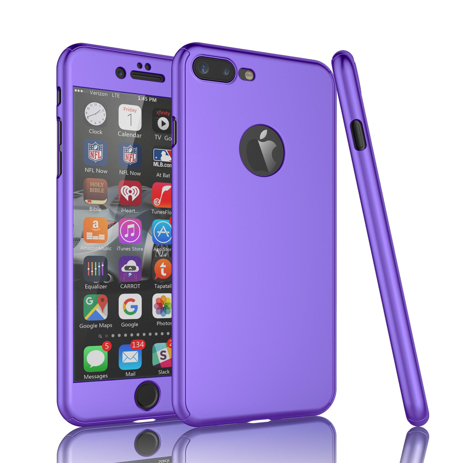 For iPhone 6 6S 7 360° Protection Acrylic Hard Case + Tempered Glass Cover