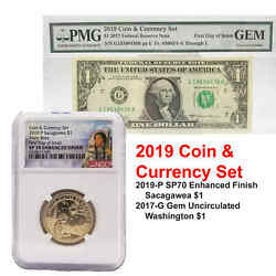 2019-P SP70 Enhanced Uncirculated Sacajawea Coin and Currency Set NGC 70