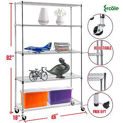 82x48x18 Heavy Duty 5 Tier Wire Shelving Rack Chrome Steel Shelf Adjustable