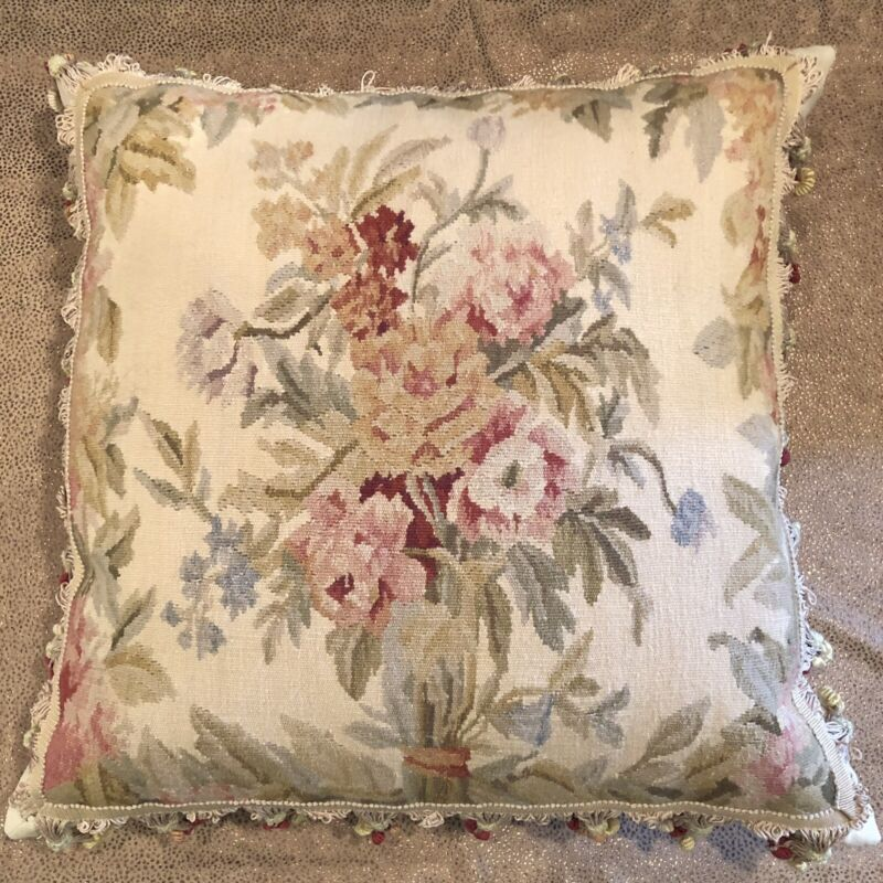 """Designer Made Antique 18th Century Aubusson Tapestry Pillow 20"""" x 20"""""""