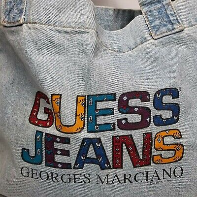Vintage Guess Jeans Georges Marciano Colorful Acid Washed Denim Tote Bag USA