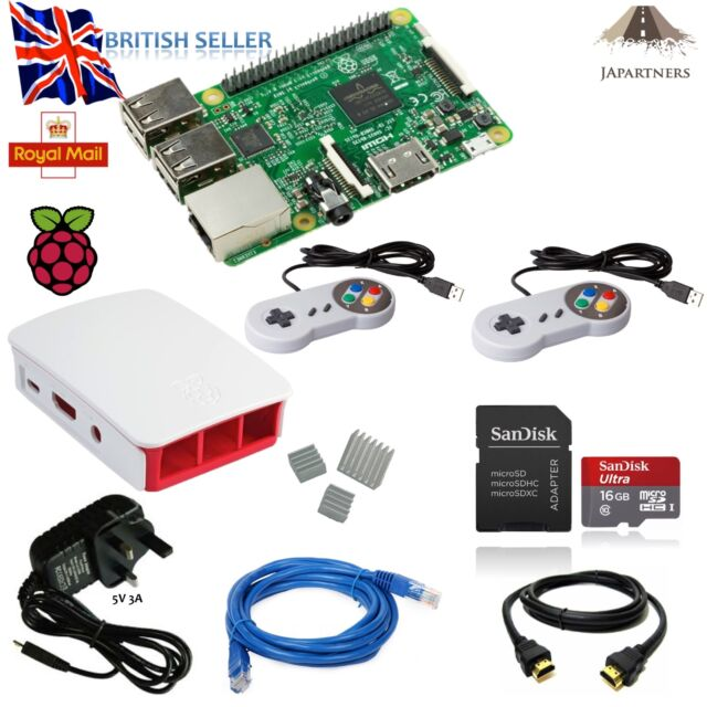 Raspberry Pi 3 16GB 2x SNES  RETROPIE EMULATOR STARTER KIT OFFICIAL CASE GAMING