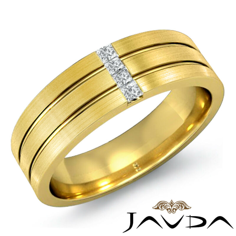 4stone Princess Diamond Solid Ring 18k Yellow Gold Mens Half Wedding Band 0.15ct