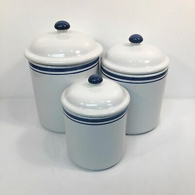 Blue Stripe Crock Kitchen Canisters Set of 3 White Ceramic Farmhouse Country